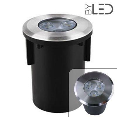 Spot LED encastré de sol balise inox 3W - 12V - QINOX 92 mm-B3