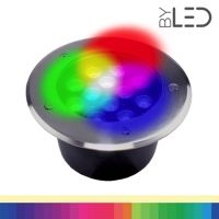 Spot LED encastré de sol inox 24V 12W - Terra 12 – RGB + Blanc chaud