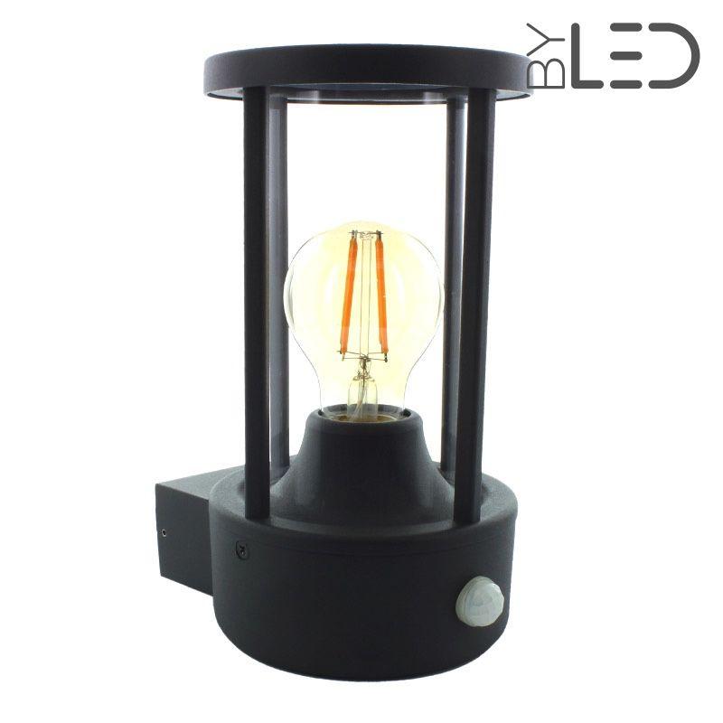 applique led murale e27 avec d tecteur ampoule offerte. Black Bedroom Furniture Sets. Home Design Ideas
