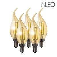 Lot de 5 ampoules LED à filament Flamme - Ambrée - E14 – 4W - Dimmable - C35