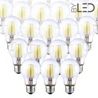 Lot de 20 ampoules LED à filament - Blanc Neutre – 6W - E27 - Dimmable - A60