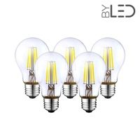 Lot de 5 ampoules LED à filament - Blanc Neutre – 6W - E27 - Dimmable - A60