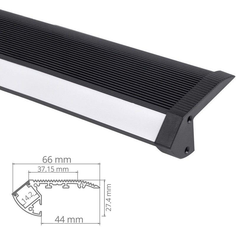 profil nez de marche d escalier pour ruban led en aluminium noir. Black Bedroom Furniture Sets. Home Design Ideas