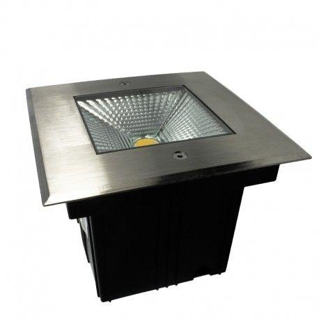 Spot LED encastré de sol carré inox 10W - 230V - QINOX 170mm
