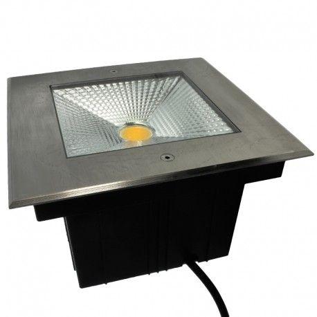 Spot LED encastré de sol carré inox 10W - 230V - QINOX 210mm