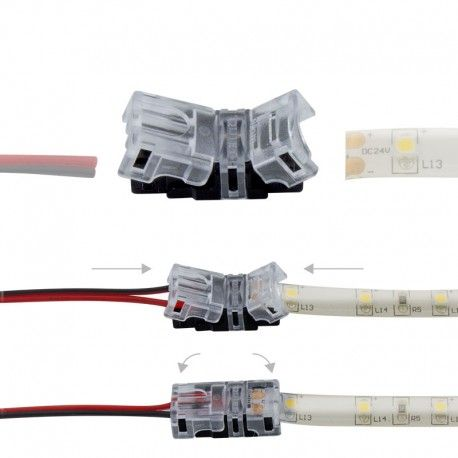 Connexion rapide ruban LED Mono IP65 - Cable 8 mm - 2p