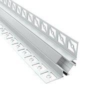 Profilé d'angle LED aluminium encastrable 90° à carreler - CRAFT - E13 - Diffuseur givré