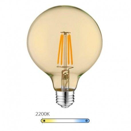 Ampoule LED à filament globe - Ambrée – 6W - E27 - Dimmable
