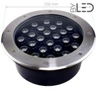 Spot LED encastré de sol inox 230V 24 W - Terra 24 - Blanc(s)