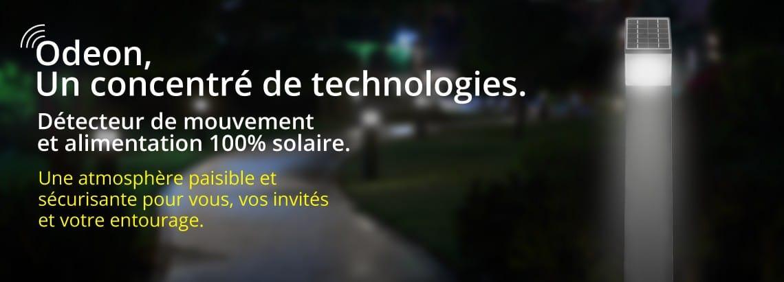 Borne led de jardin avec détecteur de mouvement et alimentation 100% solaire